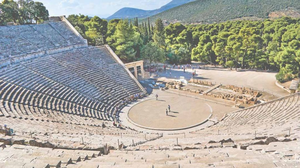 The stone amphiteater in Epidaurus, masterpiece of ancient greek architecture.