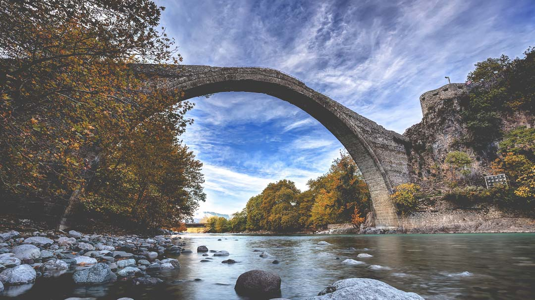 Traditional stone bridge in Konitsa, northern Greece