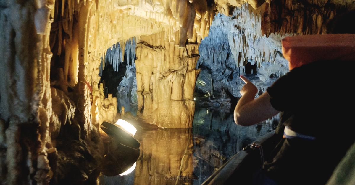 underground river in Diros caves