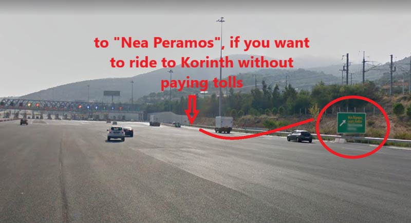 highway exit to Nea Peramos