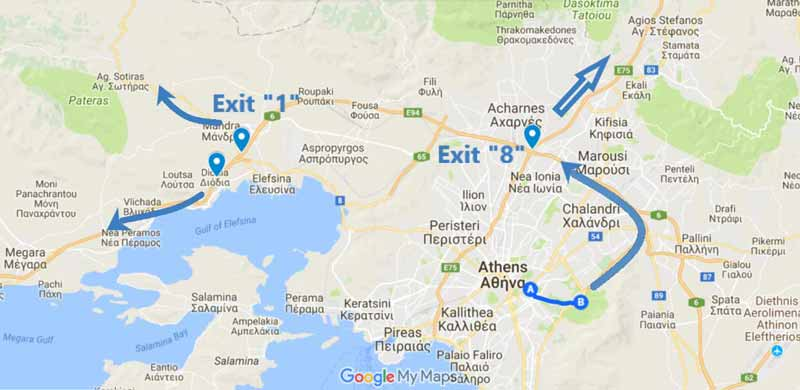 map of how to exit Athens from our office