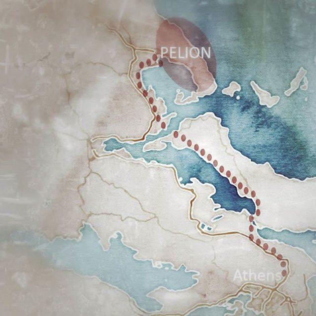 map of Pelion motorcycle tour