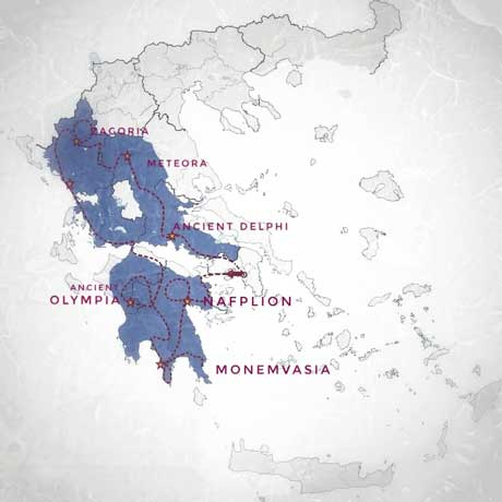 map of tour 16 days peloponnese and central northwest greece